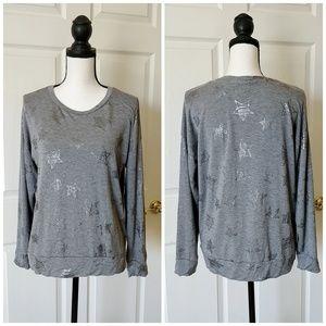 Cupio gray star print long sleeve tee shirt sz L